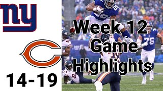 NY Giants vs Bears Highlights Week 12 | NFL 2019