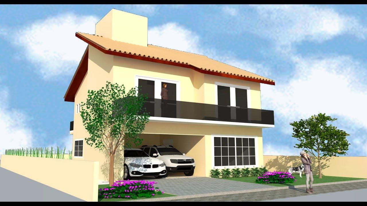 Sketchup casa 2 pavimentos modelo d parte 03 03 for Modelos de frentes de casas
