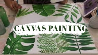 Acrylic On Canvas | Painting Tropical Leaves | Video Process