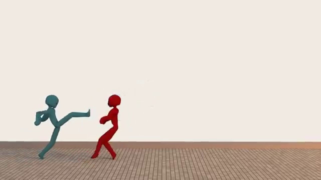Stick figure blender fight animation