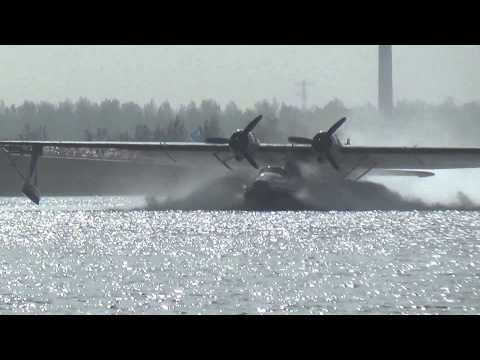 Amphibian floatplane takeoff from water PH-PBY Consolidated PBY Catalina at North Sea Canal