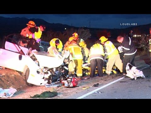 Fatal Head On Traffic Collision / Apple Valley  RAW FOOTAGE
