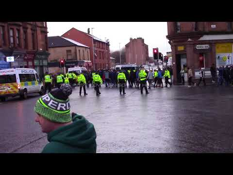 Celtic 0 - Rangers 0 - Police Protect Rangers ICF Thugs at Parkhead Cross - 30 December 2017