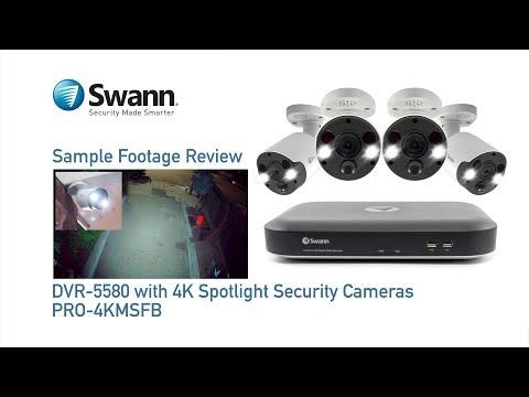 Swann 4K DVR Sample CCTV Footage Review DVR-5580 with PRO-4KMSFB Sensor Spotlight Security Cameras
