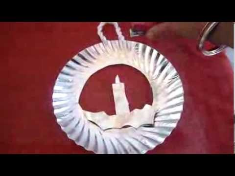 & christmas craft for kidspaper plate wreath2013 - YouTube