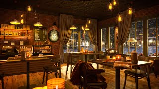 Winter Coffee Shop Music Ambience with Smooth Jazz Music for Relaxation and Stress Relief