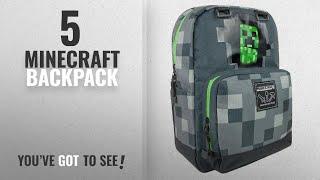 "Top 10 Minecraft Backpack [2018]: JINX Minecraft 17"" Creepy Creeper Kids Backpack - Grey"