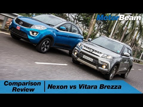 Tata Nexon vs Maruti Vitara Brezza - Comparison Review (Hindi) | MotorBeam