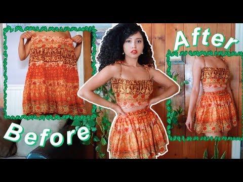 [VIDEO] - DIY SILK TWO PIECE THRIFT FLIP// long skirt dress to crop top straps and mini skirt transformation 7