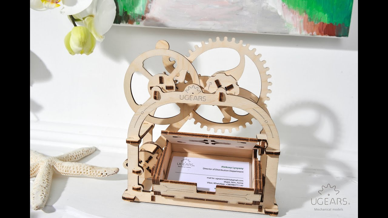UGears Mechanical Box or Etui - Assembly Video   visiting card stand for  office table   STEM Kit