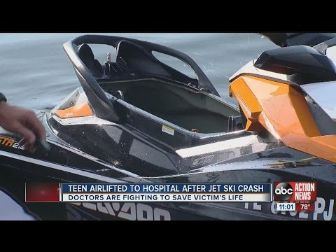 Teen airlifted after crashing jet ski