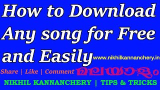 How to download any song for free and easily. Malayalam Video