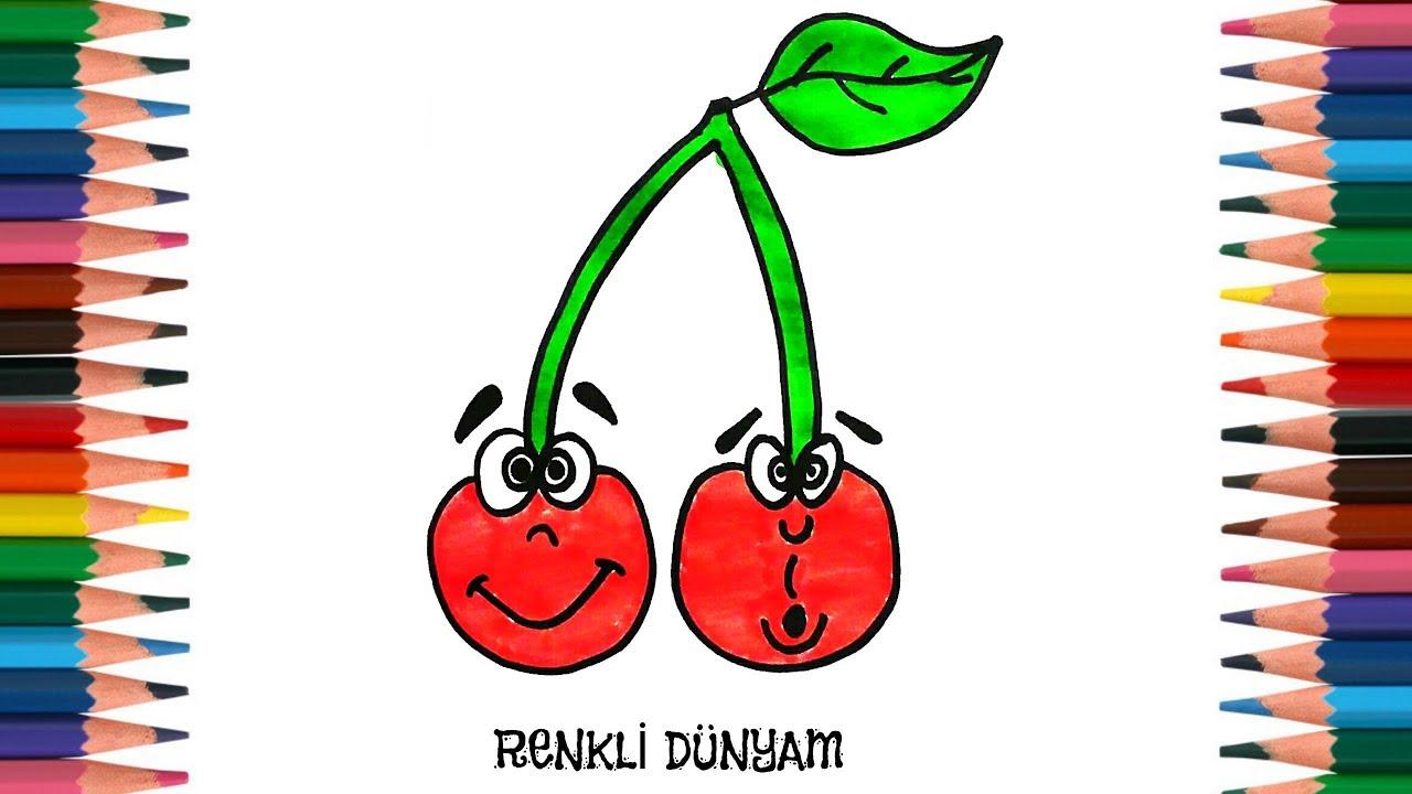 Kiraz Nasil Cizilir Kiraz Cizimi How To Draw Cherry Renkli