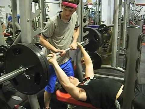 Teen Benching 2 Plates For Reps Youtube