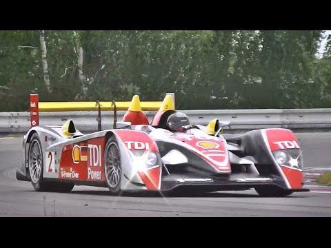 Audi R10 TDI SOUND in Action - Accelerations, Fly Bys & Downshifts