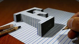 Draw a Letter F on Line Paper   3D Trick Art