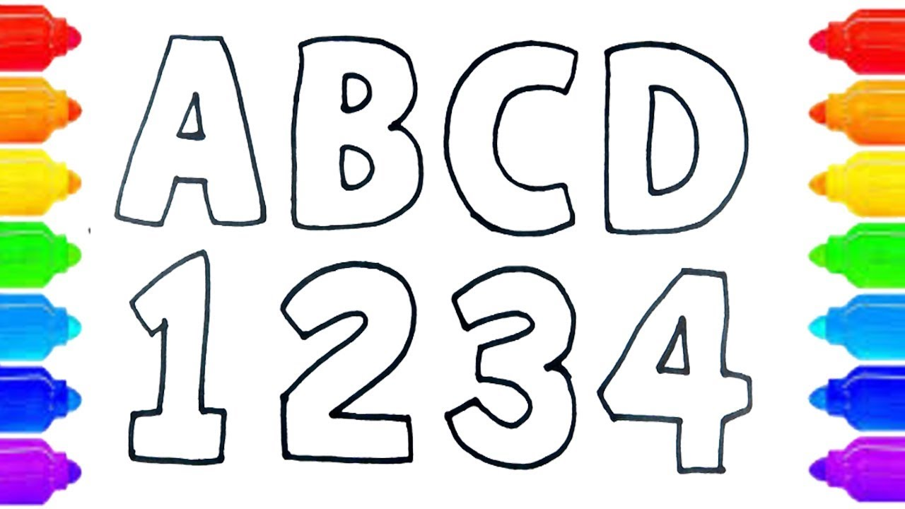 Alphabets Coloring And Drawing Learn Alphabet Abc And Numbers 123 Coloring Page Nicedrawingtv Youtube