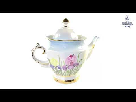 Сервиз чайный граненый авторская работа высокохудожественная роспись-video