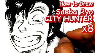 How to draw SAEBA RYO from CITY HUNTER | speed drawing x8 | Character Drawing [Yellow Pencil TV]