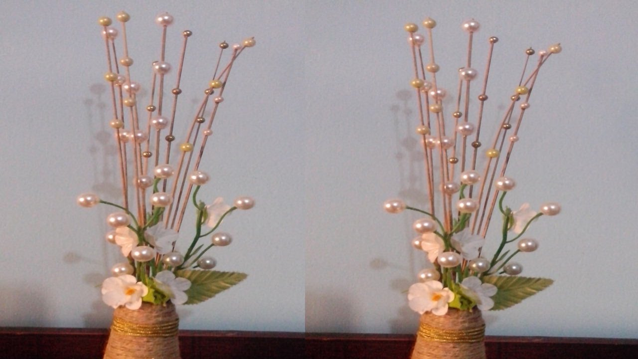 Decorative Flower Sticks Using Pearls Rope Flower Vase