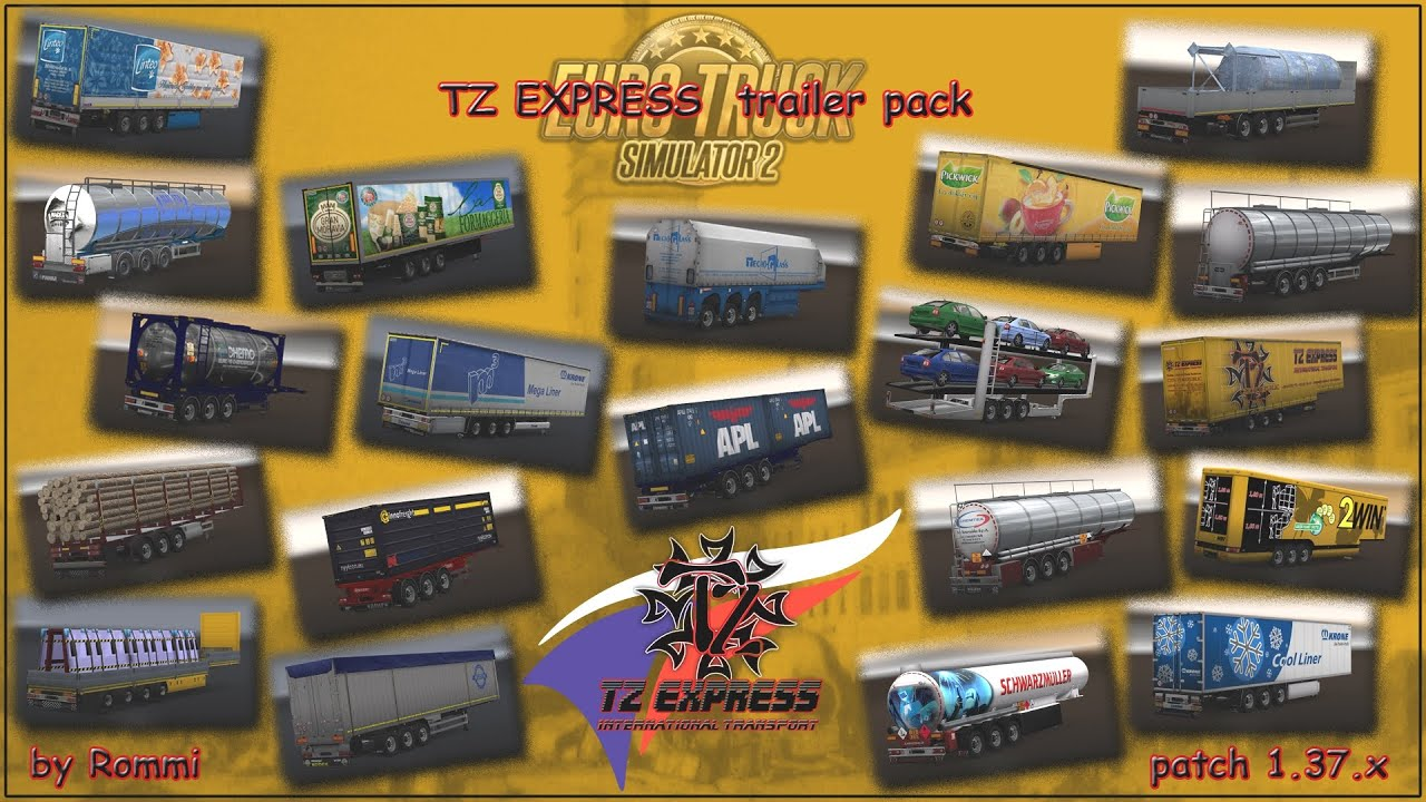 [ETS2 v1.37] TZ TrailerPack *MegaPack with many Ownable Trailer*