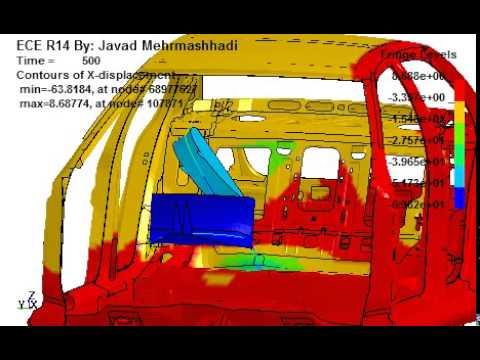 ECE R14 seatbelt anchorage - Von Mises Stress