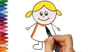 Kız Çocuğu Çizim Yapma  Nasıl Çizilir  Çocuk ve Bebek için Çiziyorum Boyuyorum