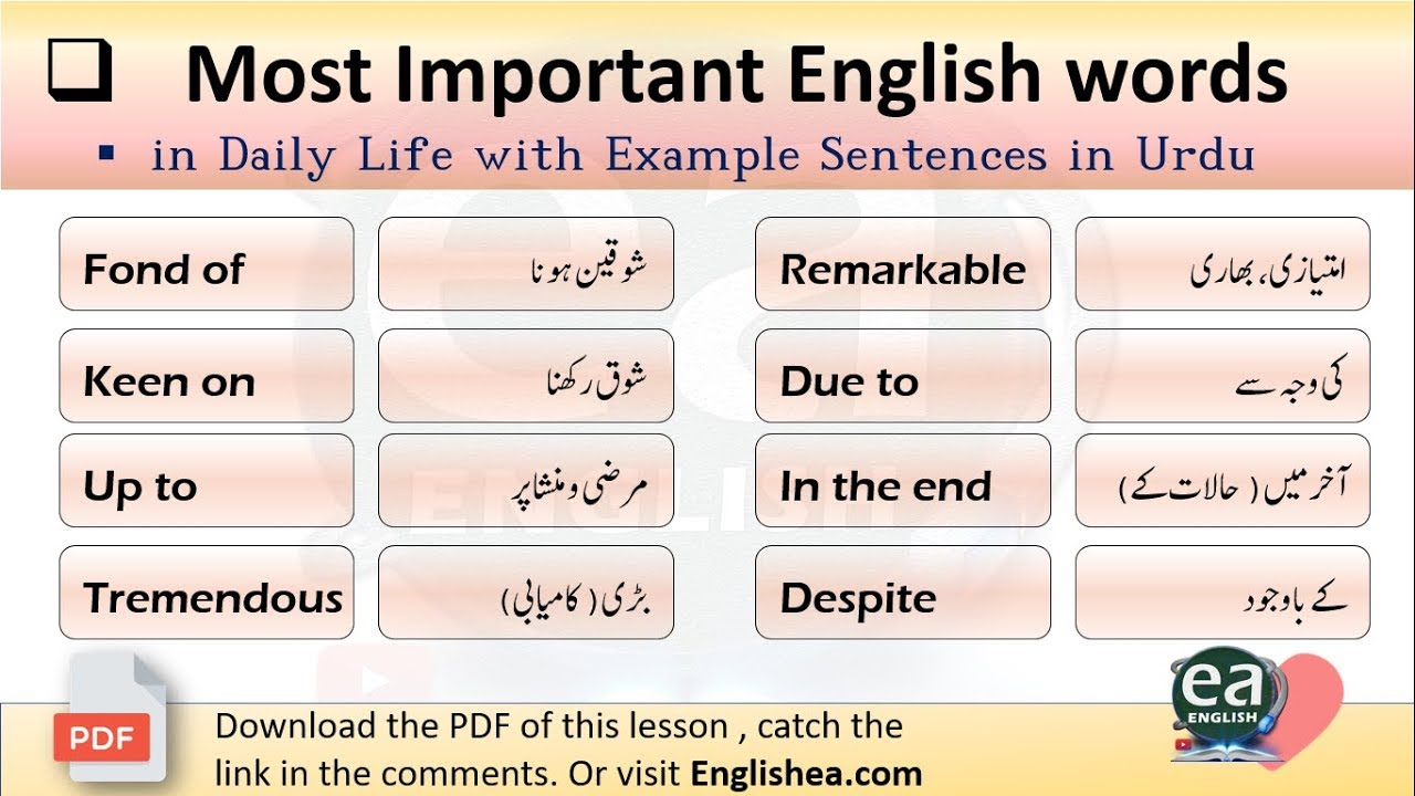 Most Important English words in Daily Life with Example Sentences in Urdu