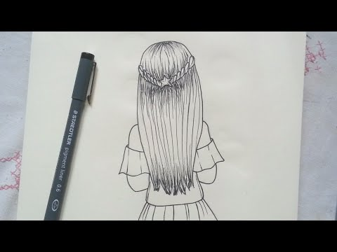 How To Draw A Girl With Beautiful Hair Easy Step By Step Youtube