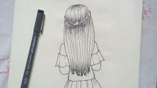 easy hair draw drawings step