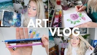 ART VLOG | Filming Equipment, Galaxy Painting & Packaging Artwork