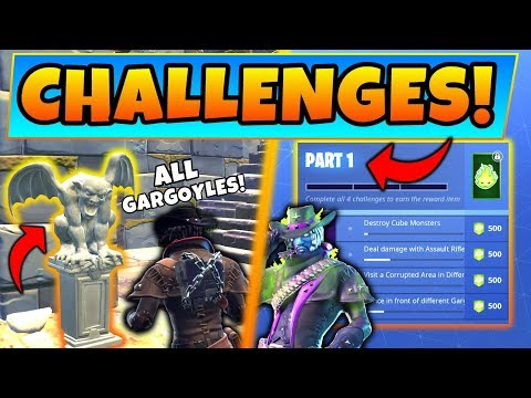Fortnite GARGOYLE LOCATIONS/FORTNITEMARE CHALLENGES GUIDE! + Six Shooter Gameplay (Battle Royale)