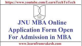 JNU MBA Online Application Form for Admission in MBA