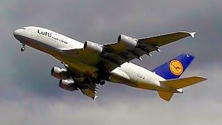 LAST MINUTE ABORTED LANDING! Lufthansa A380 Close-Up Go Around!