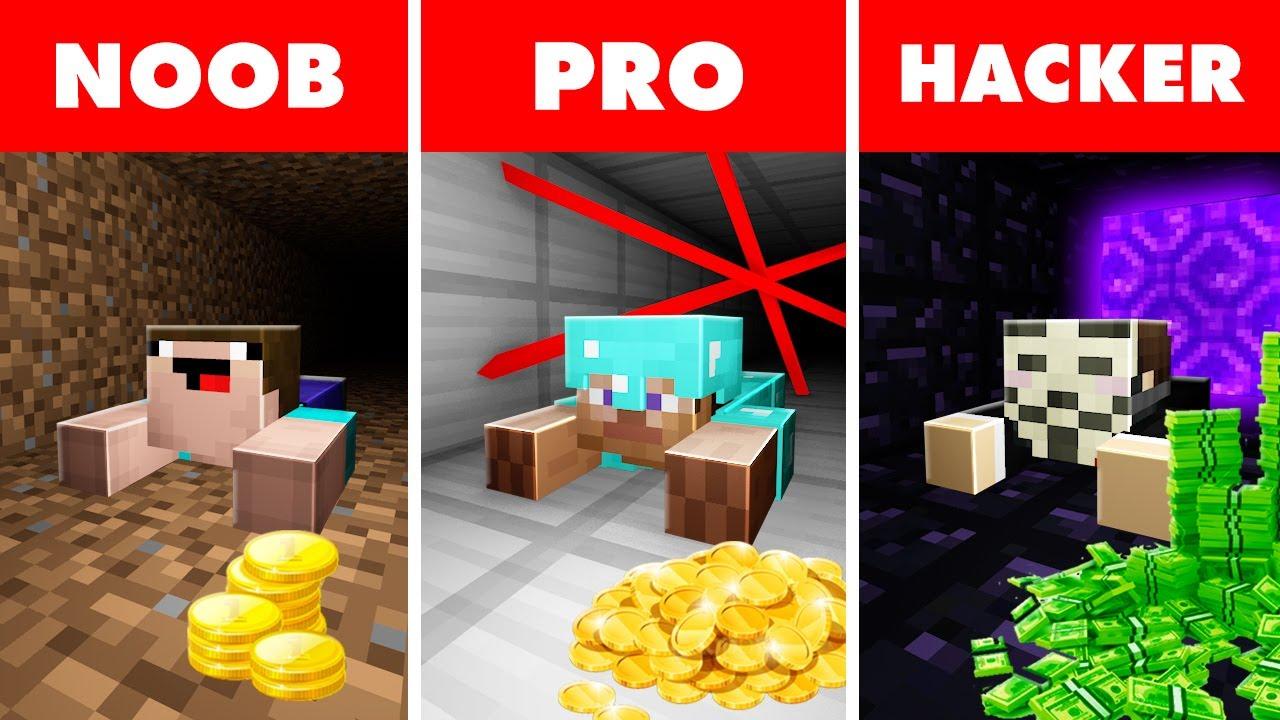 Download Noob vs. Pro vs. Hacker : BANK ROBBERY ESCAPE CHALLENGE! In Minecraft Animation