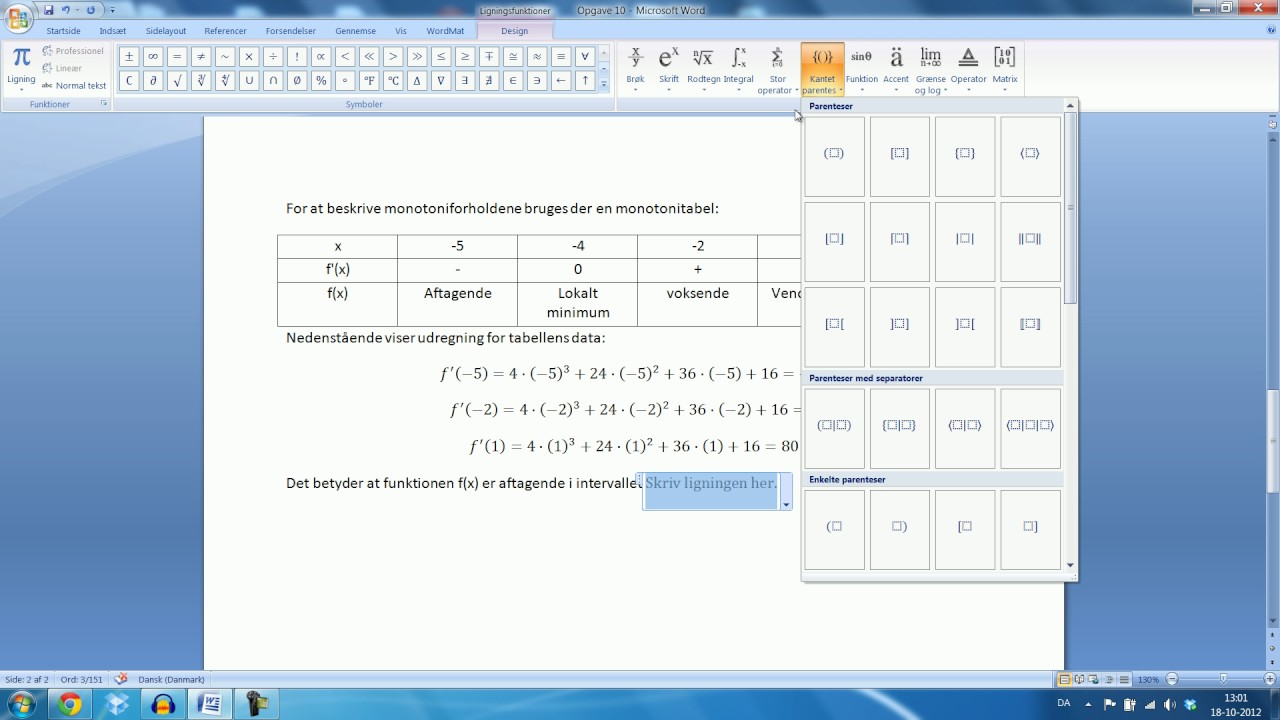 Skriftlig eksamen Mat B - 25. Maj 2012 Opgave 10