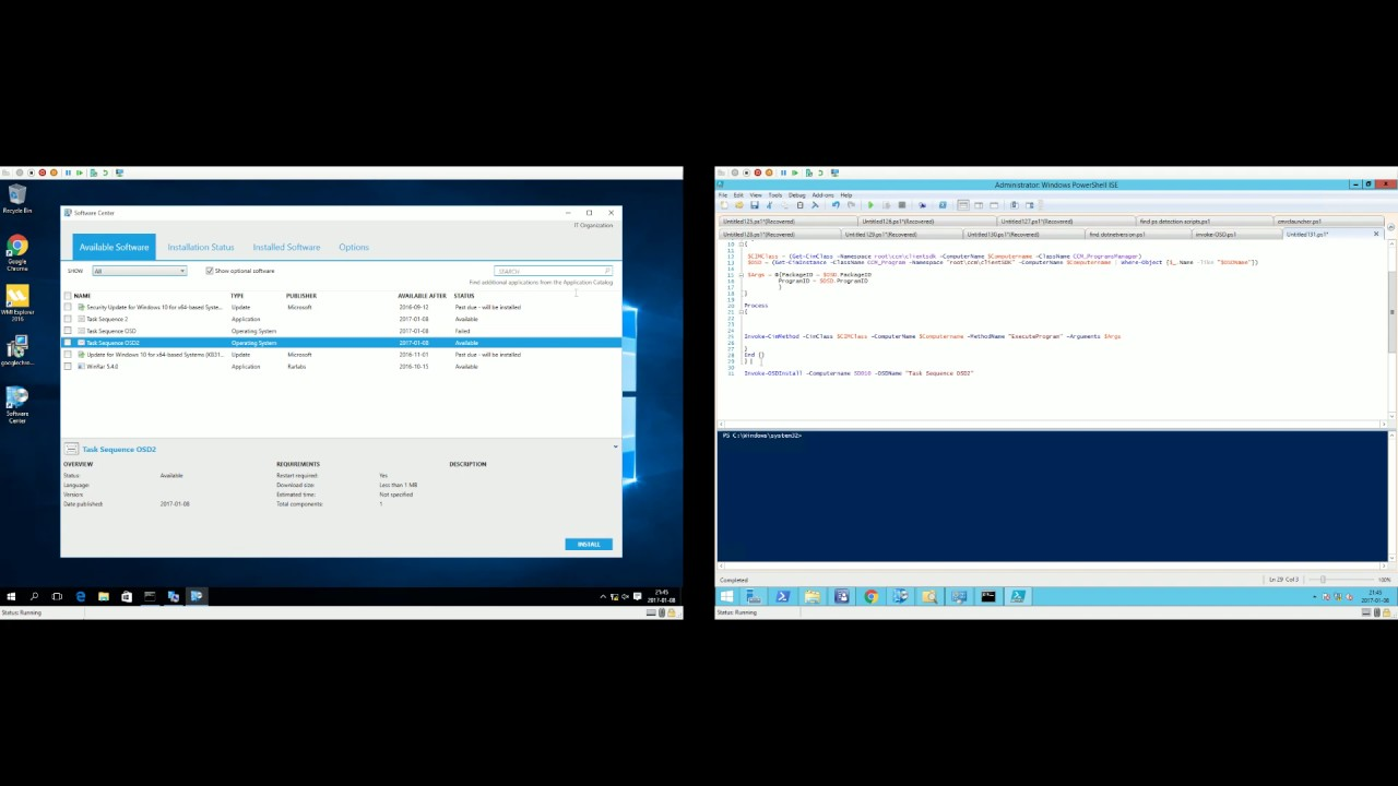 Invoke OSD Task sequence remotely with Powershell