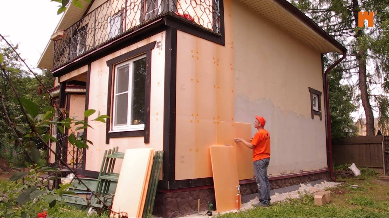 Как утеплить фасад дома, утепляем дом каменной ватой и пенопластом .