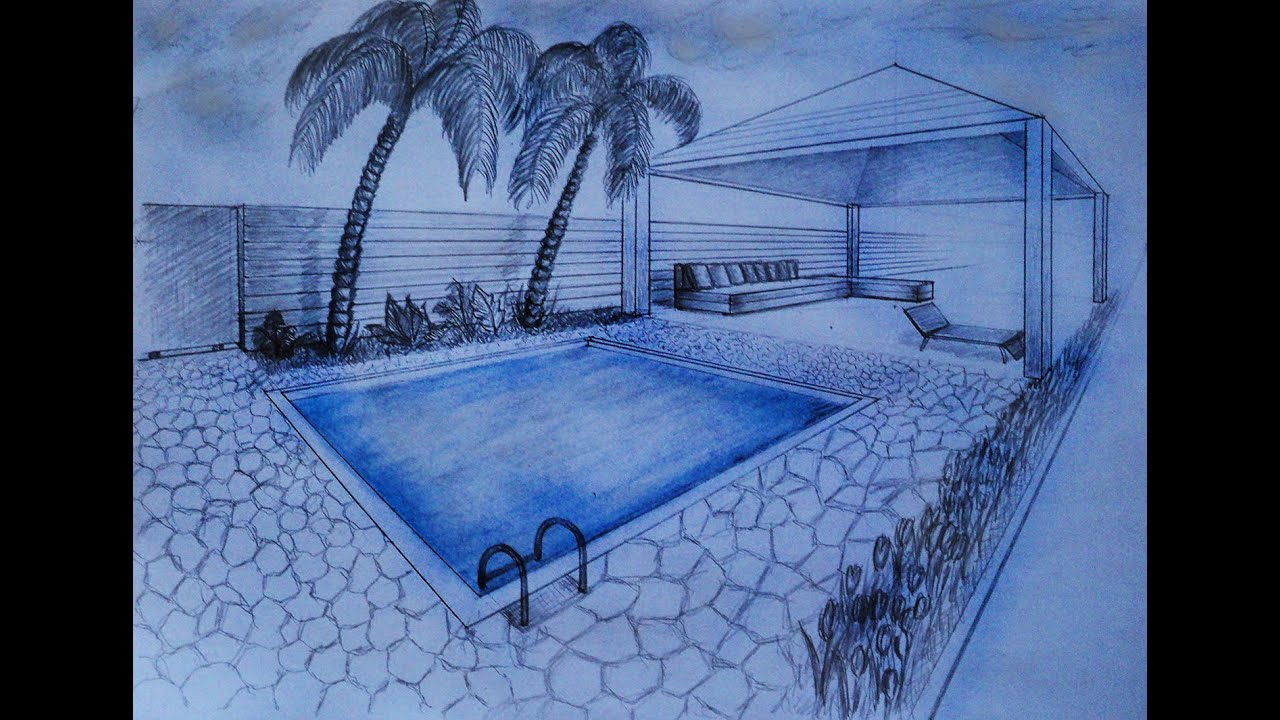 Drawing Swimming Pools : How to draw two point perspective villa garden with