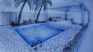 How to draw - two point perspective - villa, garden with pool