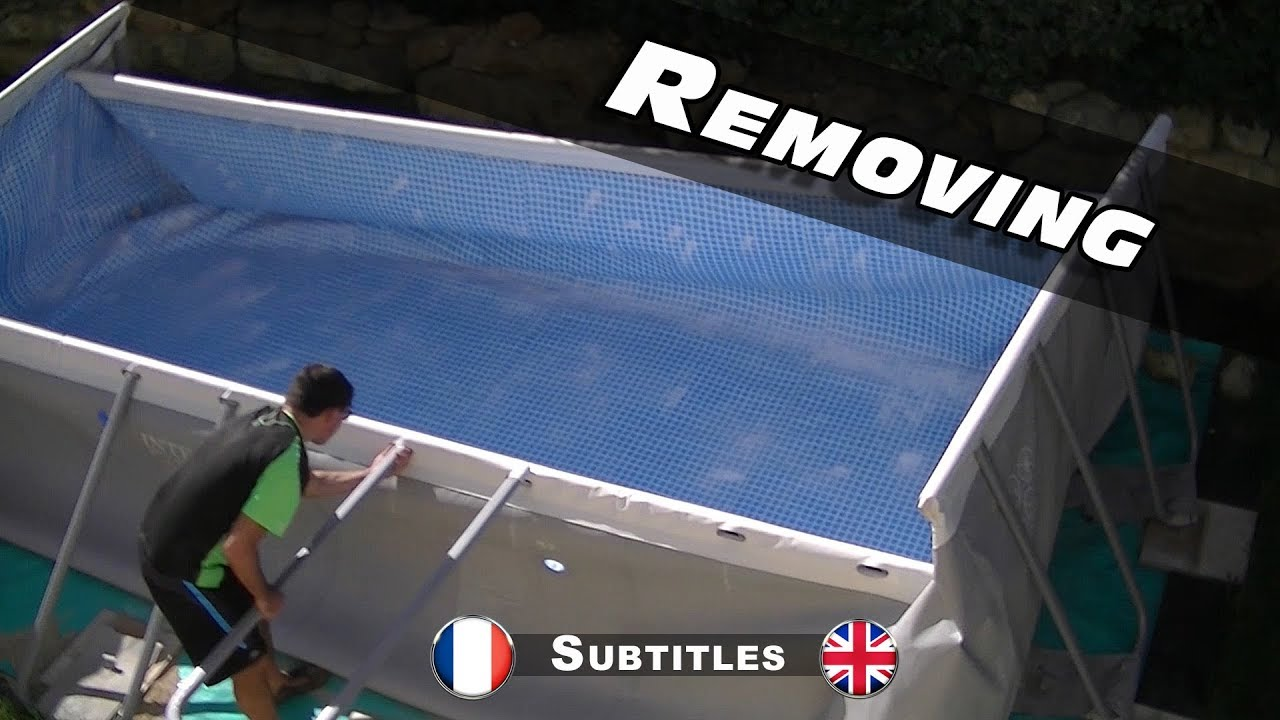 Demontage pliage de ma piscine intex ultra frame youtube for Liner piscine intex