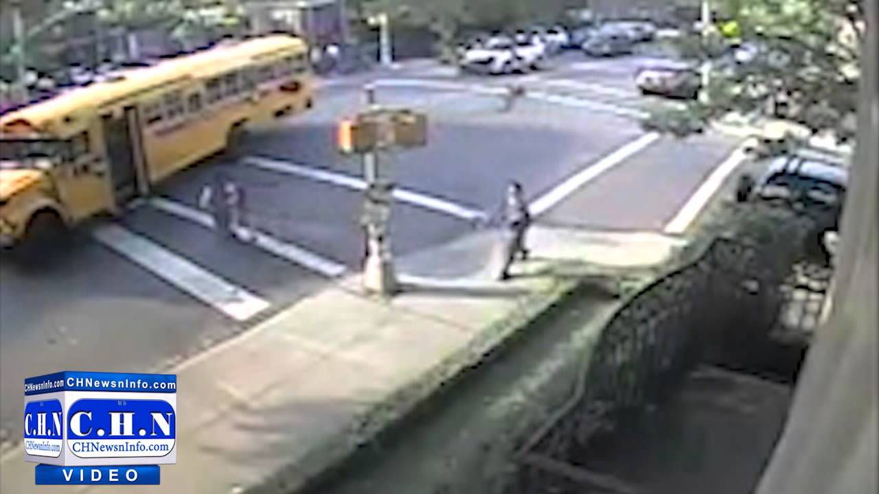 Driver Nearly Runs Over Mother After She Finishes Loading Her Child Onto the School Bus