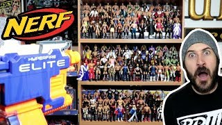 OMG!!! SHOOTING MY WWE ACTION FIGURE COLLECTION WITH A NERF GUN!!!