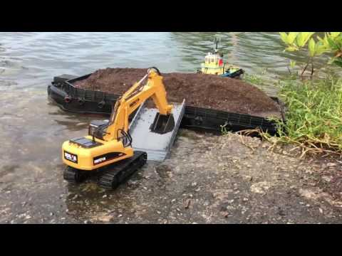 RC Tug & Barge X Double E Dump Truck X Huina Excavator Work At Sea