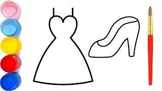 كيفية رسم فستان وحذاء سهل خطوة بخطوة / رسم سهل / تعليم الرسم للمبتدئين