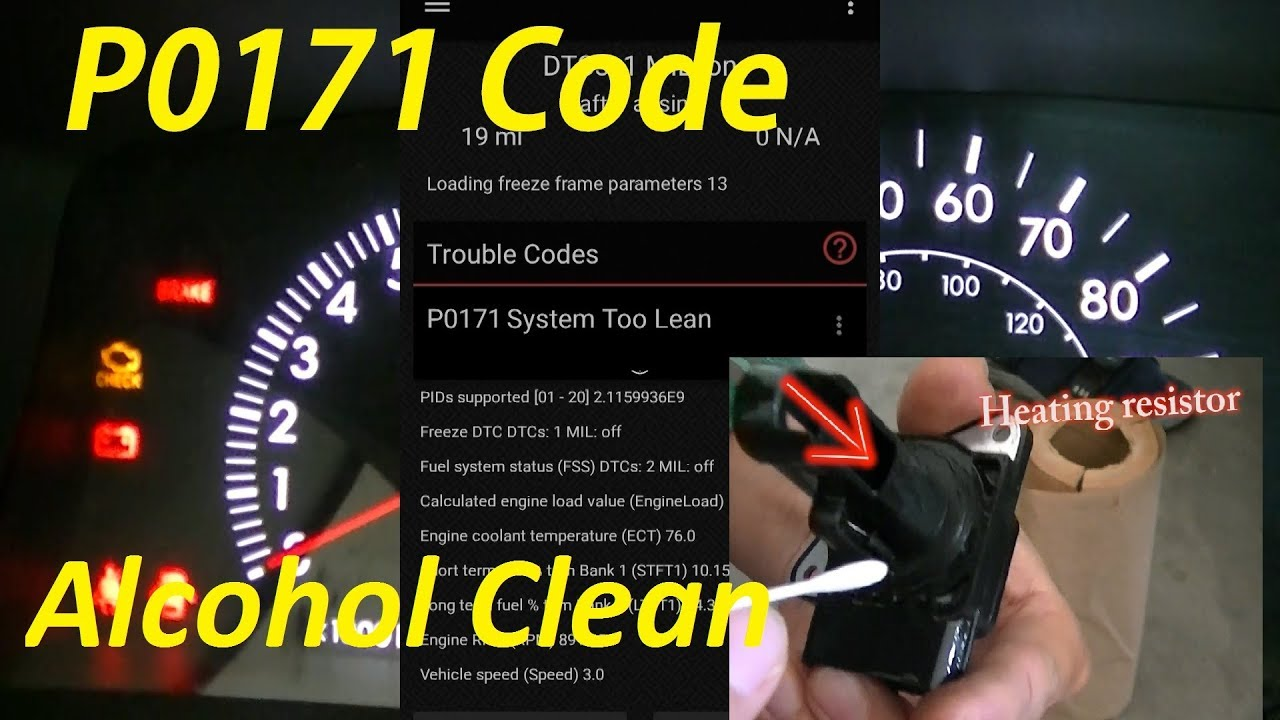 Toyota Corolla Check Engine Light (code: P0171) Clean MAF With Alcohol