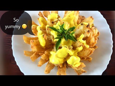طريقة عمل وردة البصل المقلي مع صلصة الجبن Homemade onion tasty food