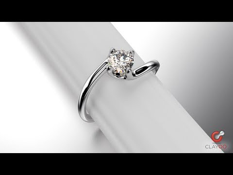 Watch this step-by-step video showing the design of a diamond ring in RhinoGold and Clayoo
