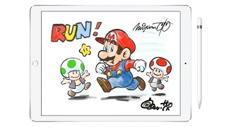 Miyamoto draws Super Mario Run on iPad Pro