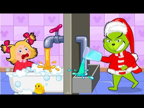 The Grinch stupid in the toilet 💖 The Grinch Babysitter Showdown💖 Cartoon for kids